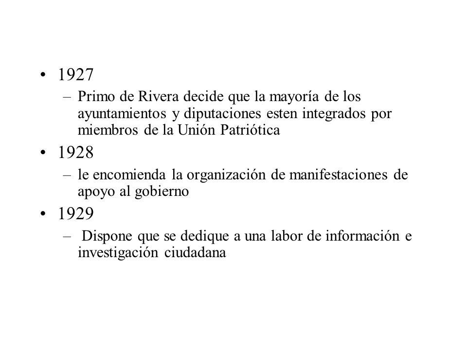 1927 Primo de Rivera decide que la mayoría de los ayuntamientos y diputaciones esten integrados por miembros de la Unión Patriótica.