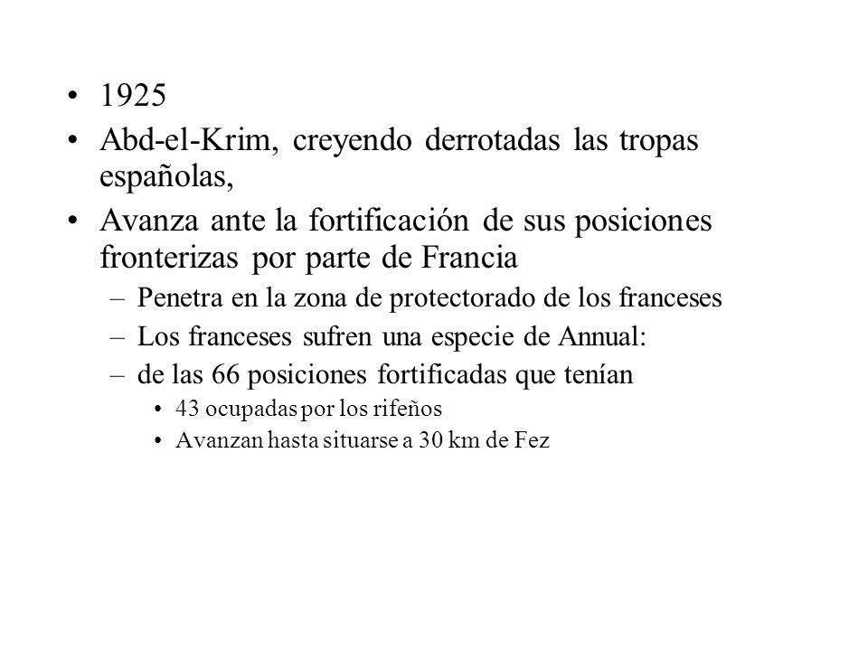 Abd-el-Krim, creyendo derrotadas las tropas españolas,