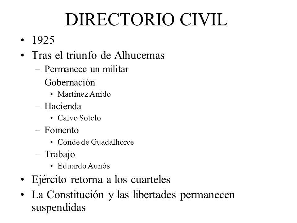 DIRECTORIO CIVIL 1925 Tras el triunfo de Alhucemas