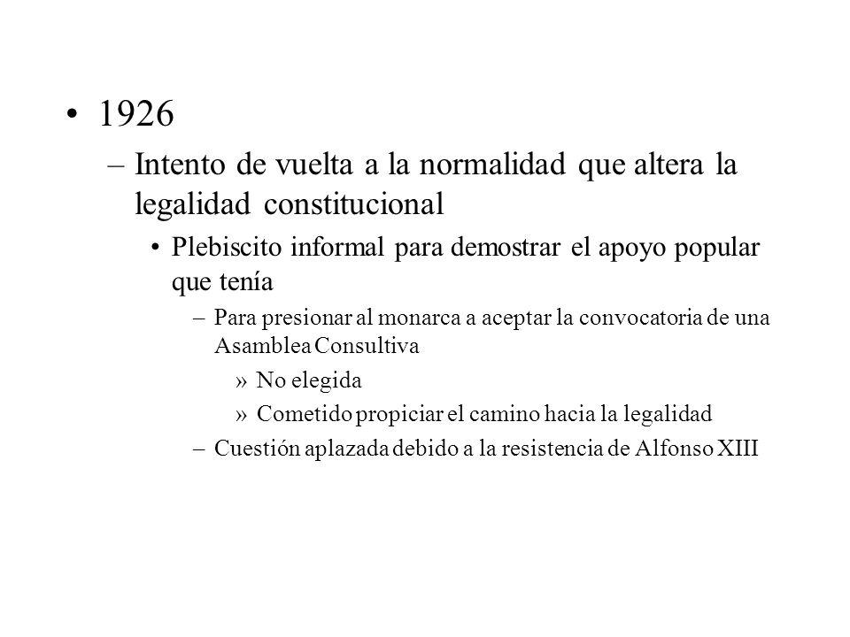 1926 Intento de vuelta a la normalidad que altera la legalidad constitucional. Plebiscito informal para demostrar el apoyo popular que tenía.