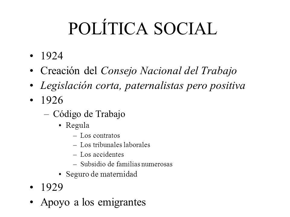 POLÍTICA SOCIAL 1924 Creación del Consejo Nacional del Trabajo