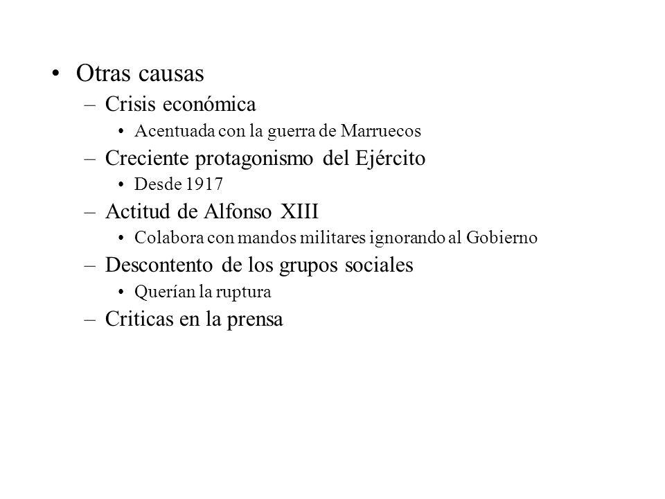Otras causas Crisis económica Creciente protagonismo del Ejército