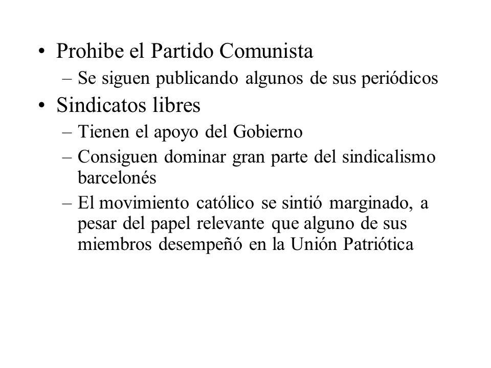 Prohibe el Partido Comunista Sindicatos libres