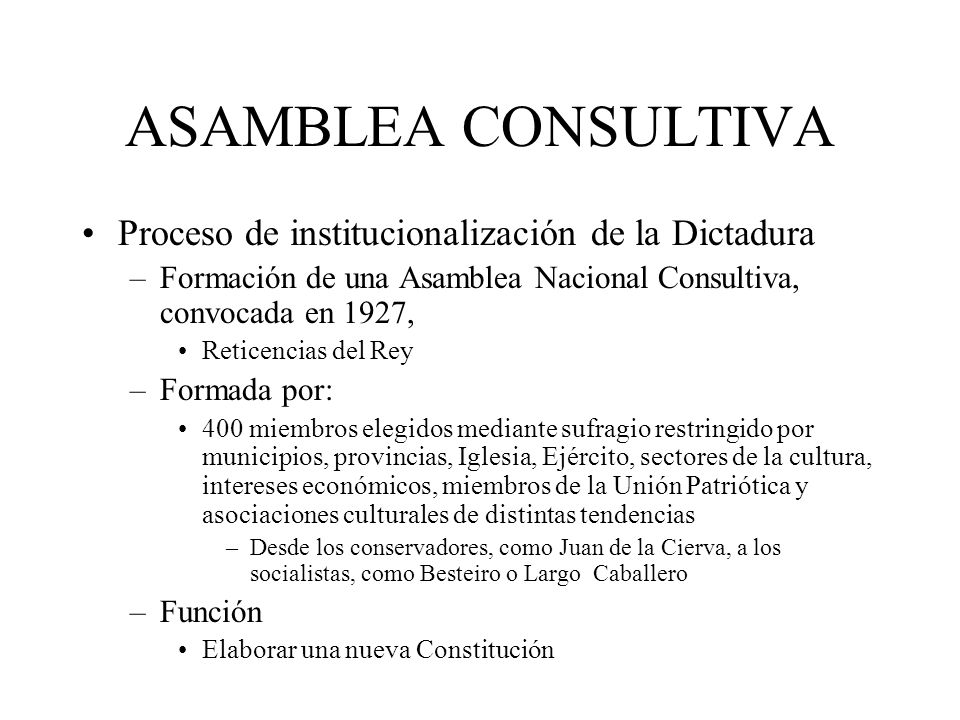 ASAMBLEA CONSULTIVA Proceso de institucionalización de la Dictadura