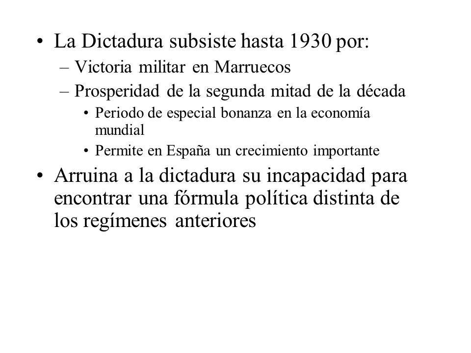 La Dictadura subsiste hasta 1930 por: