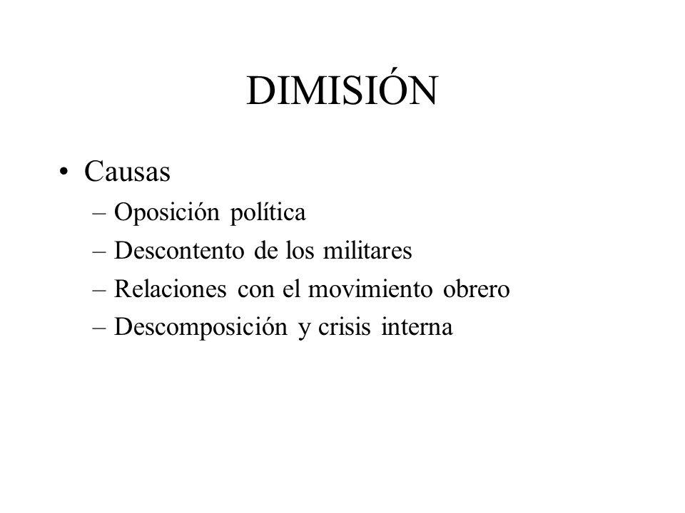 DIMISIÓN Causas Oposición política Descontento de los militares