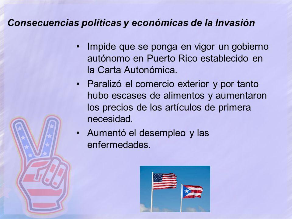 Consecuencias políticas y económicas de la Invasión