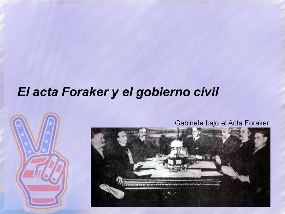 El acta Foraker y el gobierno civil