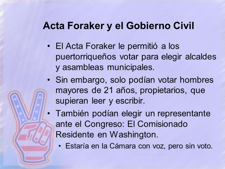 Acta Foraker y el Gobierno Civil
