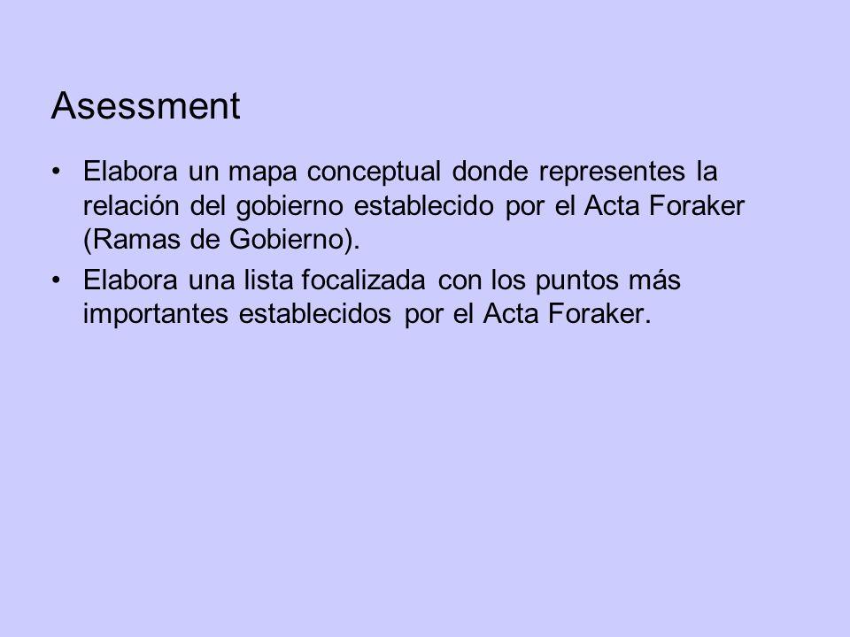 Asessment Elabora un mapa conceptual donde representes la relación del gobierno establecido por el Acta Foraker (Ramas de Gobierno).