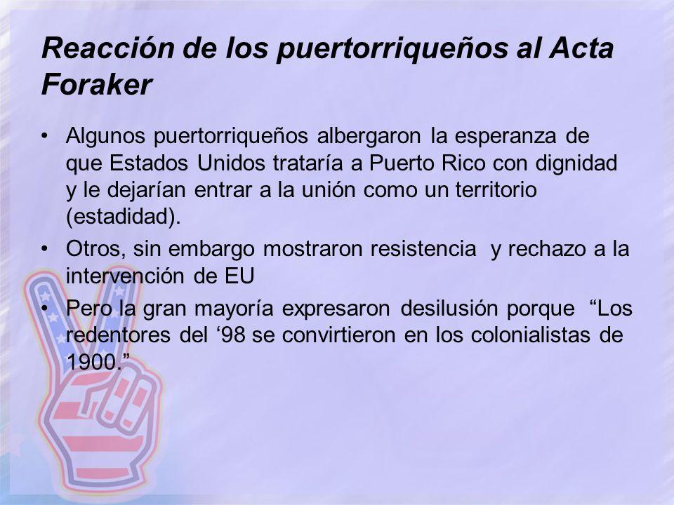 Reacción de los puertorriqueños al Acta Foraker