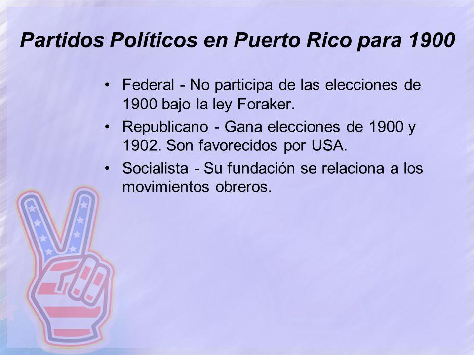 Partidos Políticos en Puerto Rico para 1900