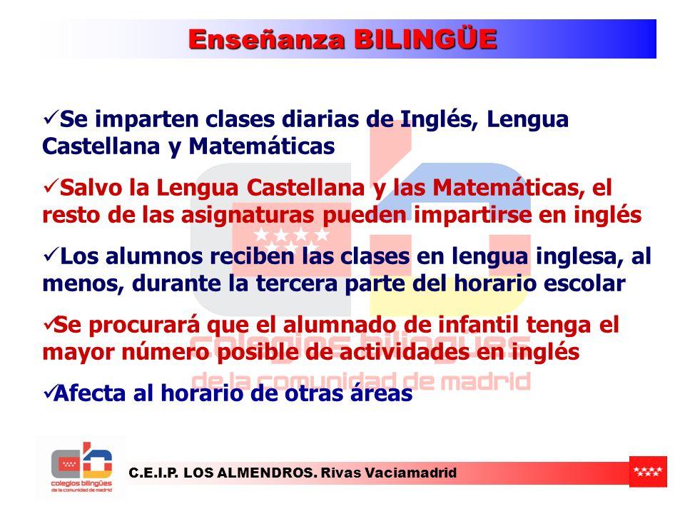 Enseñanza BILINGÜE Se imparten clases diarias de Inglés, Lengua Castellana y Matemáticas.