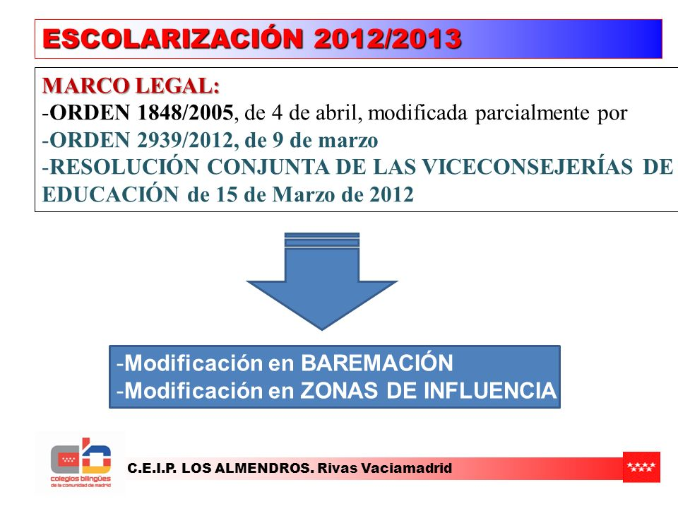 ESCOLARIZACIÓN 2012/2013 MARCO LEGAL: