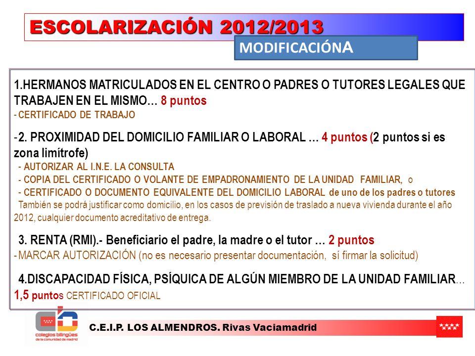 ESCOLARIZACIÓN 2012/2013 MODIFICACIÓNA