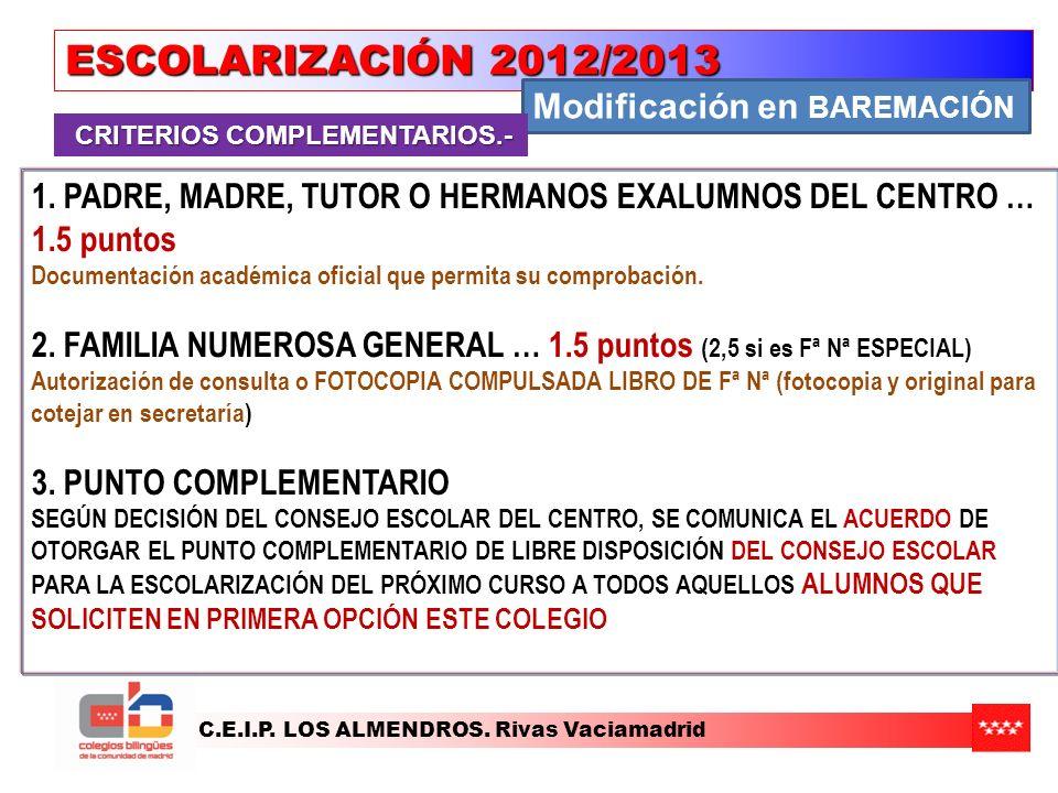 ESCOLARIZACIÓN 2012/2013 Modificación en BAREMACIÓN
