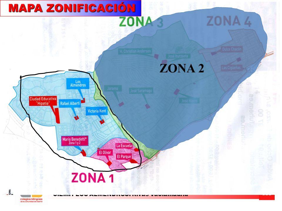MAPA ZONIFICACIÓN ZONA 2 C.E.I.P. LOS ALMENDROS. Rivas Vaciamadrid