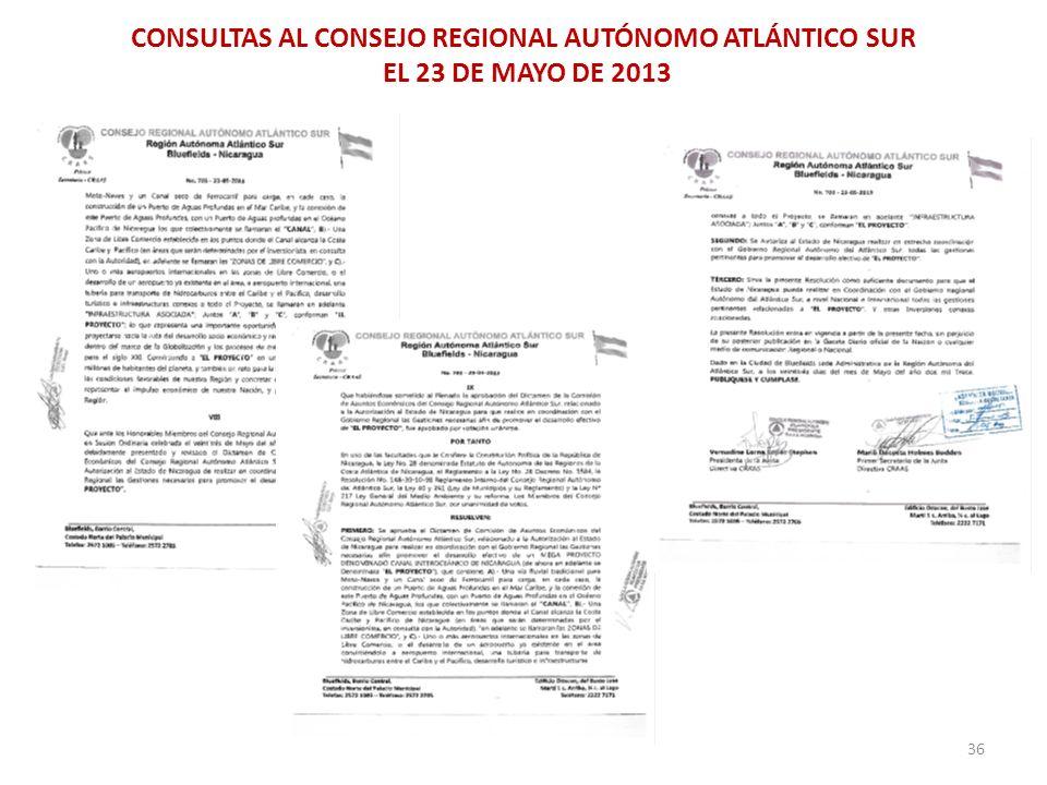CONSULTAS AL CONSEJO REGIONAL AUTÓNOMO ATLÁNTICO SUR EL 23 DE MAYO DE 2013