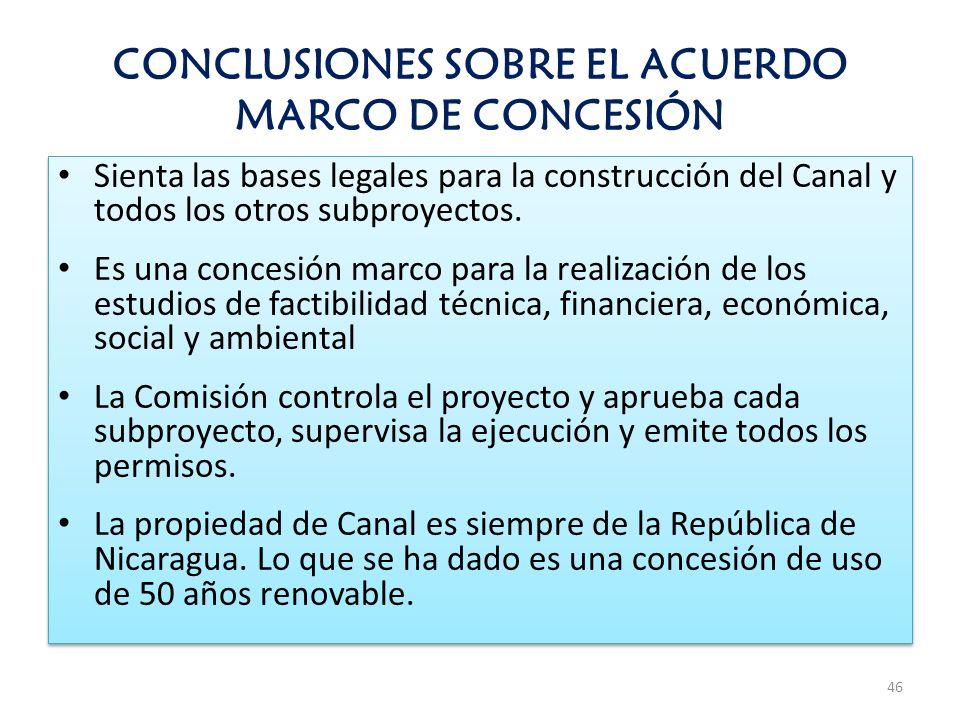 CONCLUSIONES SOBRE EL ACUERDO MARCO DE CONCESIÓN