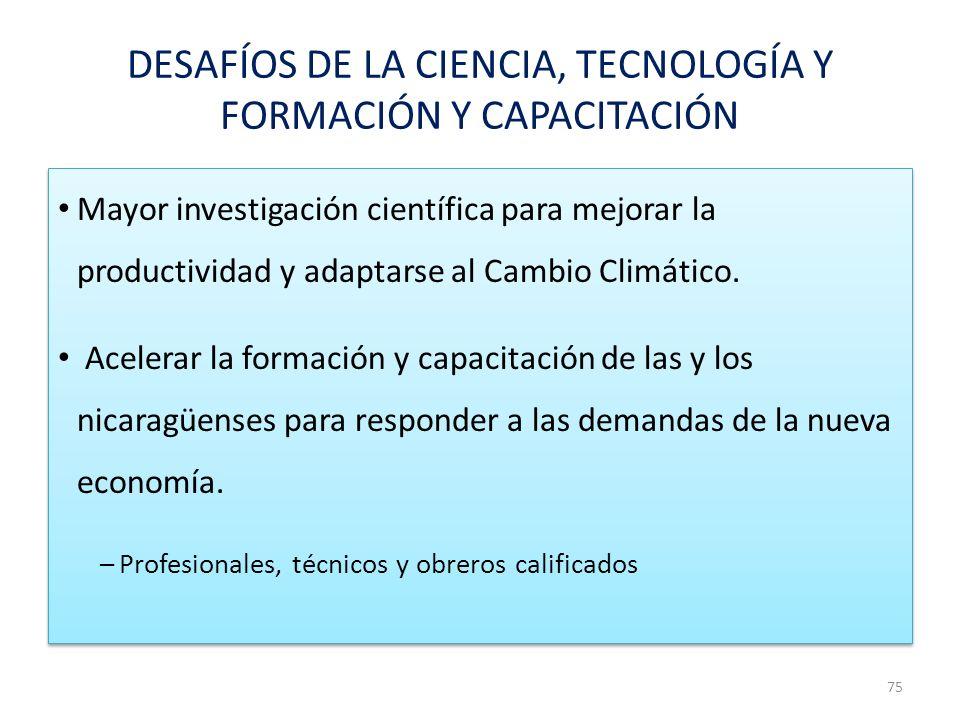 DESAFÍOS DE LA CIENCIA, TECNOLOGÍA Y FORMACIÓN Y CAPACITACIÓN