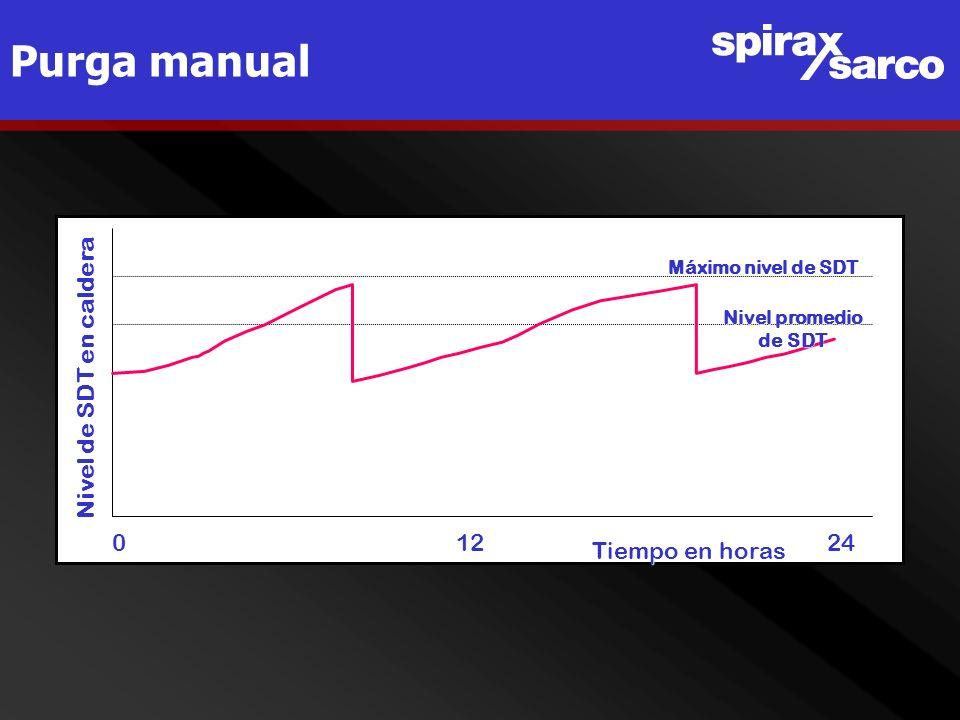 Purga manual Nivel de SDT en caldera 0 12 24 Tiempo en horas