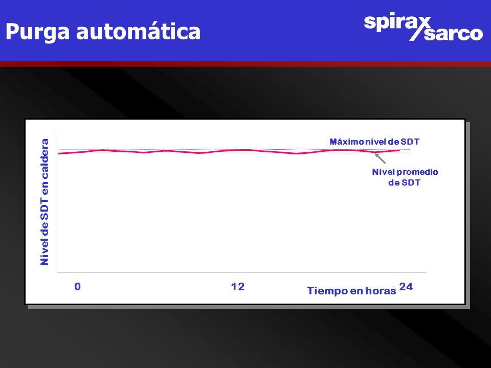 Purga automática Nivel de SDT en caldera 0 12 24 Tiempo en horas