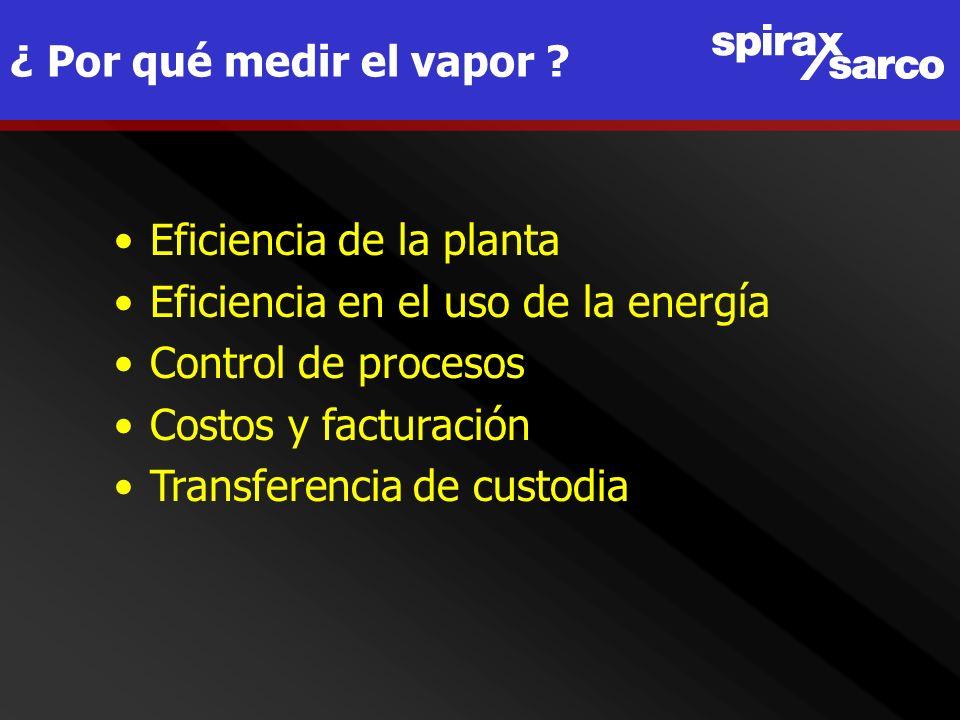 ¿ Por qué medir el vapor Eficiencia de la planta. Eficiencia en el uso de la energía. Control de procesos.