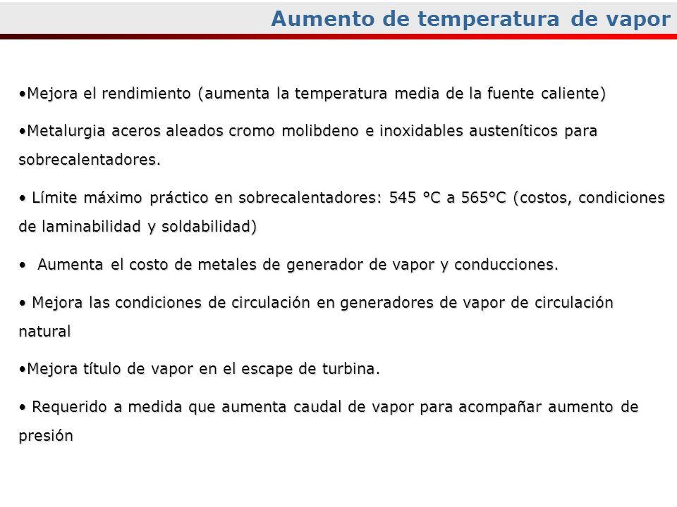 Aumento de temperatura de vapor