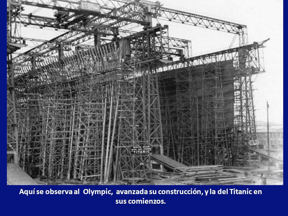 Aquí se observa al Olympic, avanzada su construcción, y la del Titanic en sus comienzos.