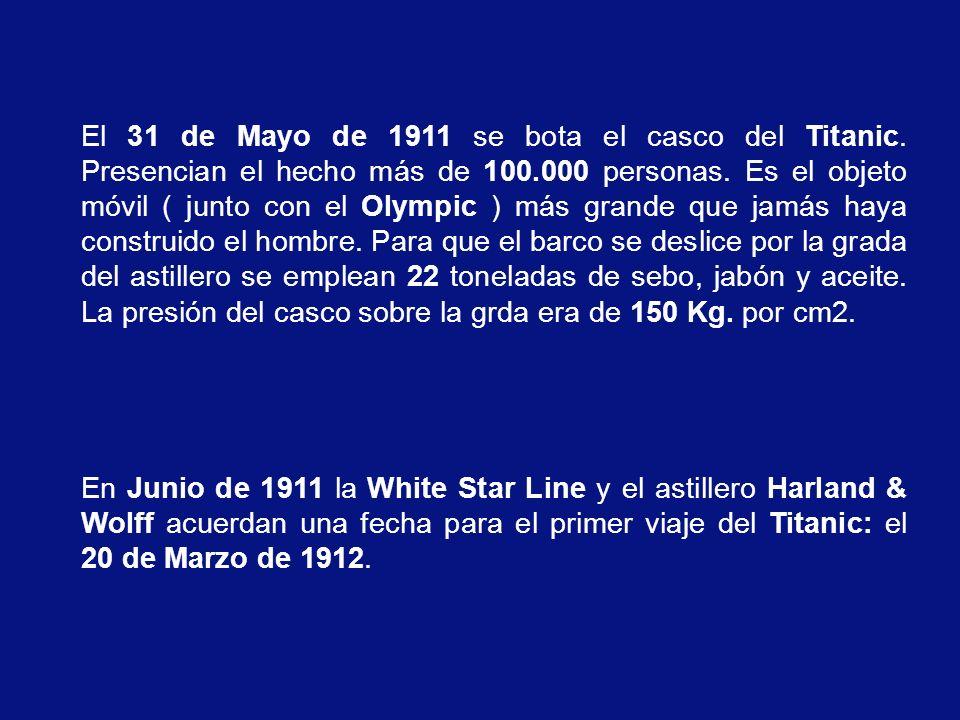El 31 de Mayo de 1911 se bota el casco del Titanic