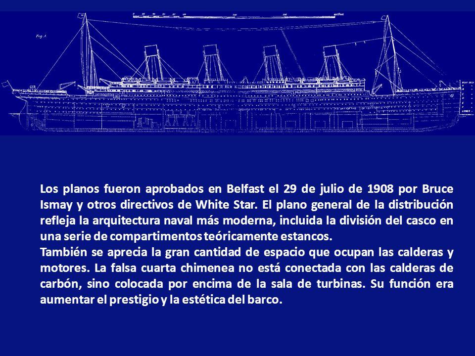 Los planos fueron aprobados en Belfast el 29 de julio de 1908 por Bruce Ismay y otros directivos de White Star. El plano general de la distribución refleja la arquitectura naval más moderna, incluida la división del casco en una serie de compartimentos teóricamente estancos.