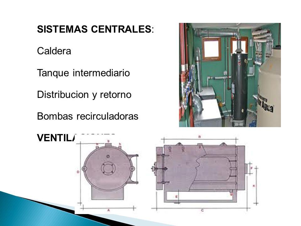 SISTEMAS CENTRALES: Caldera. Tanque intermediario. Distribucion y retorno. Bombas recirculadoras.