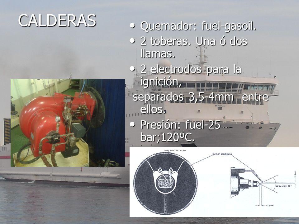 CALDERAS Quemador: fuel-gasoil. 2 toberas. Una ó dos llamas.