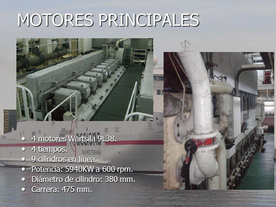 MOTORES PRINCIPALES 4 motores Wartsila 9L38. 4 tiempos.