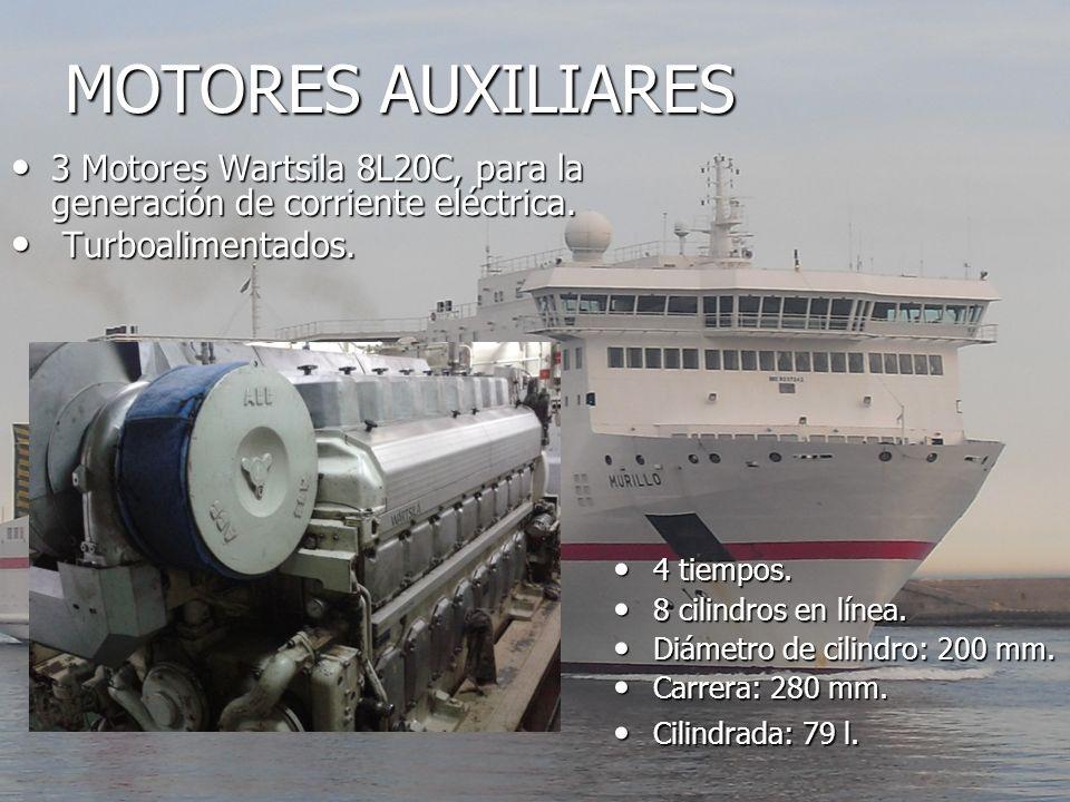 MOTORES AUXILIARES 3 Motores Wartsila 8L20C, para la generación de corriente eléctrica. Turboalimentados.