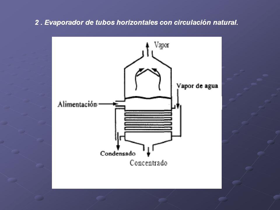 2 . Evaporador de tubos horizontales con circulación natural.