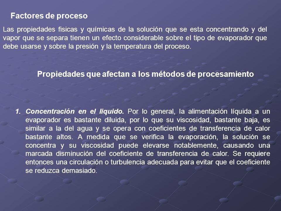 Propiedades que afectan a los métodos de procesamiento