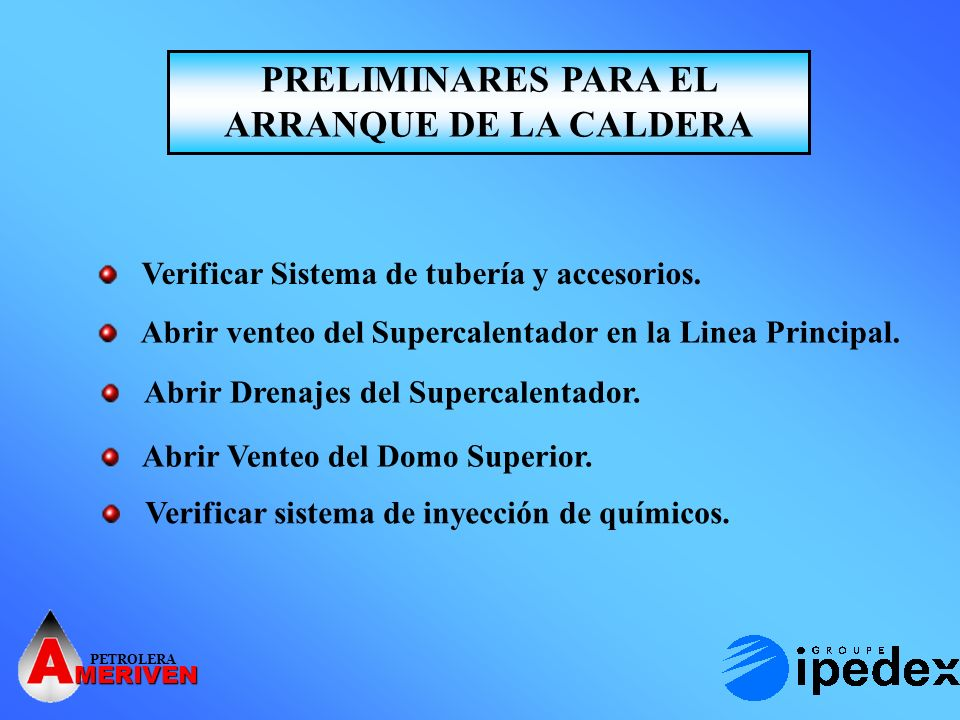 PRELIMINARES PARA EL ARRANQUE DE LA CALDERA