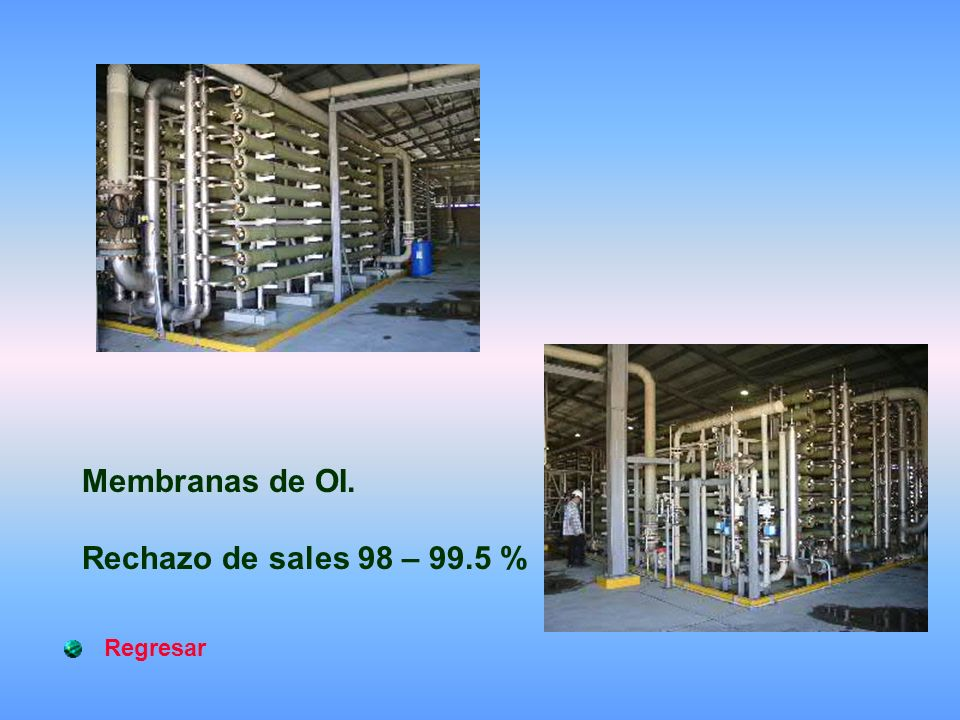 Membranas de OI. Rechazo de sales 98 – 99.5 % Regresar