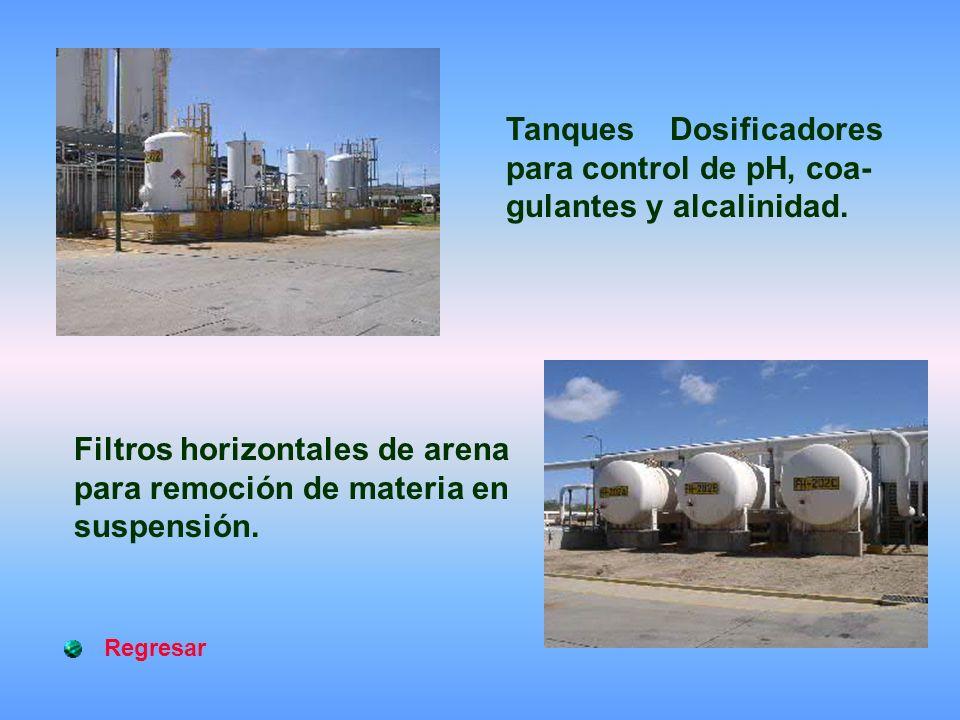 Tanques Dosificadores para control de pH, coa- gulantes y alcalinidad.