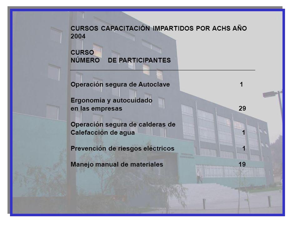 CURSOS CAPACITACIÓN IMPARTIDOS POR ACHS AÑO 2004