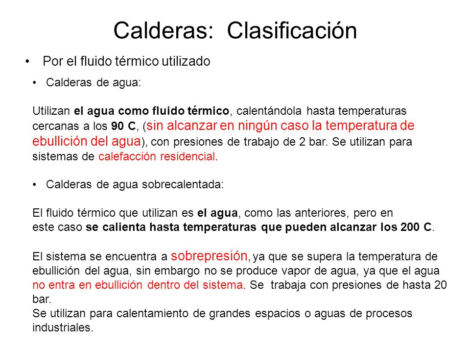 Calderas: Clasificación