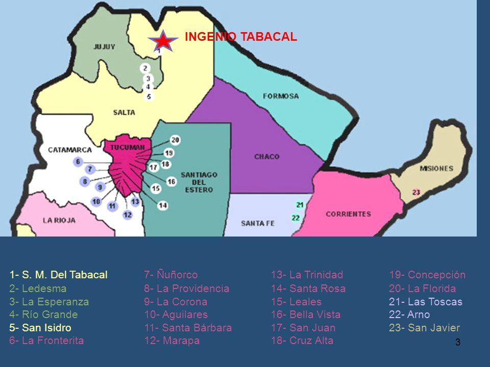 INGENIO TABACAL 1- S. M. Del Tabacal 2- Ledesma 3- La Esperanza