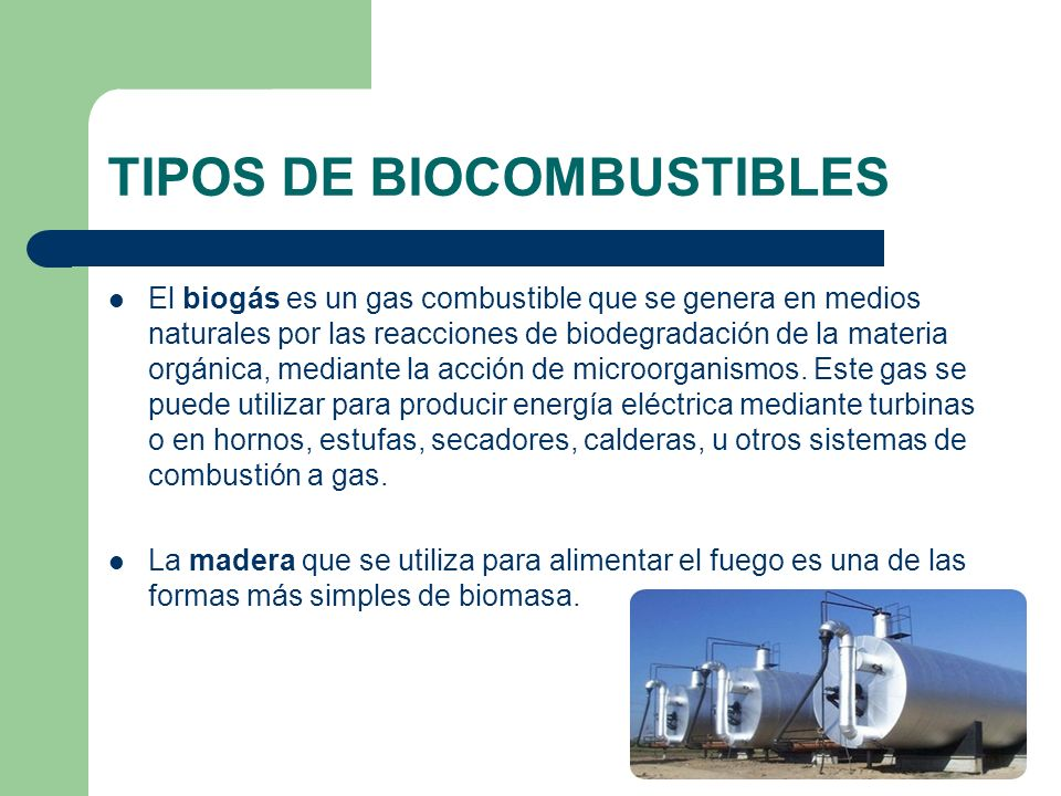 TIPOS DE BIOCOMBUSTIBLES