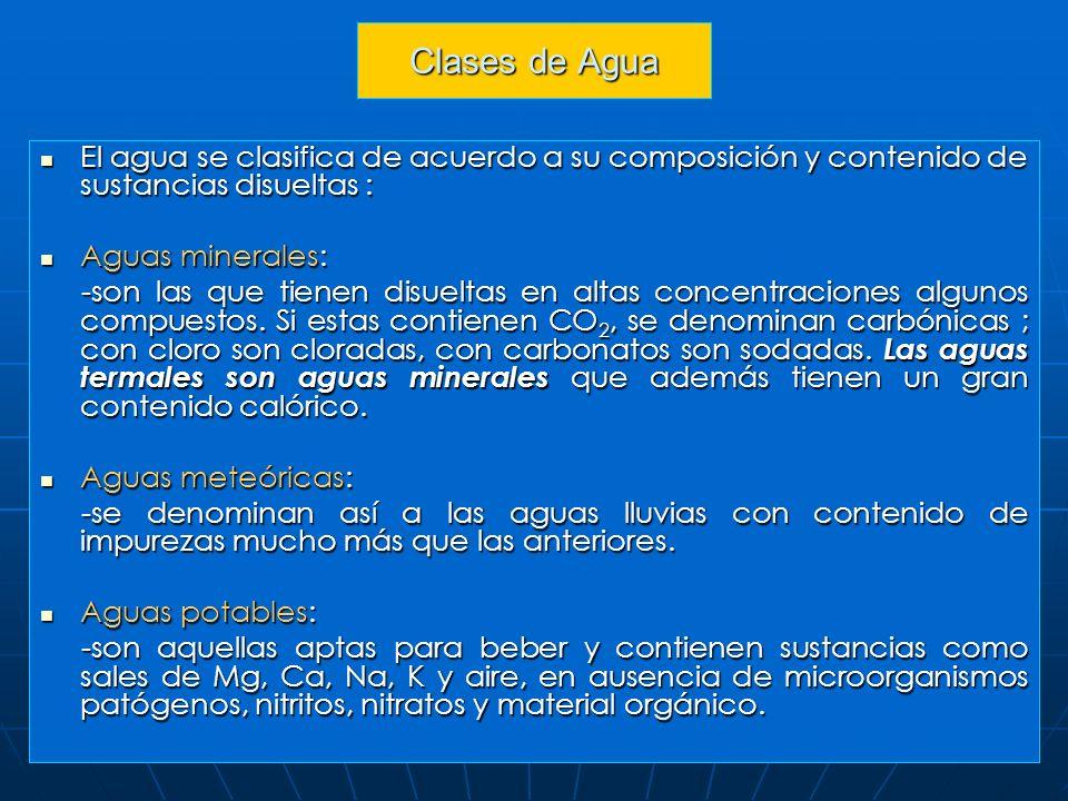 Clases de Agua El agua se clasifica de acuerdo a su composición y contenido de sustancias disueltas :
