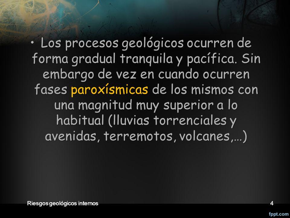 Los procesos geológicos ocurren de forma gradual tranquila y pacífica