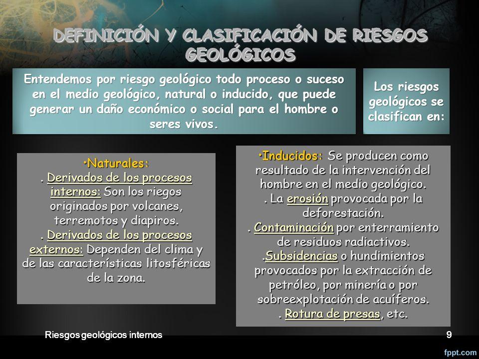DEFINICIÓN Y CLASIFICACIÓN DE RIESGOS GEOLÓGICOS