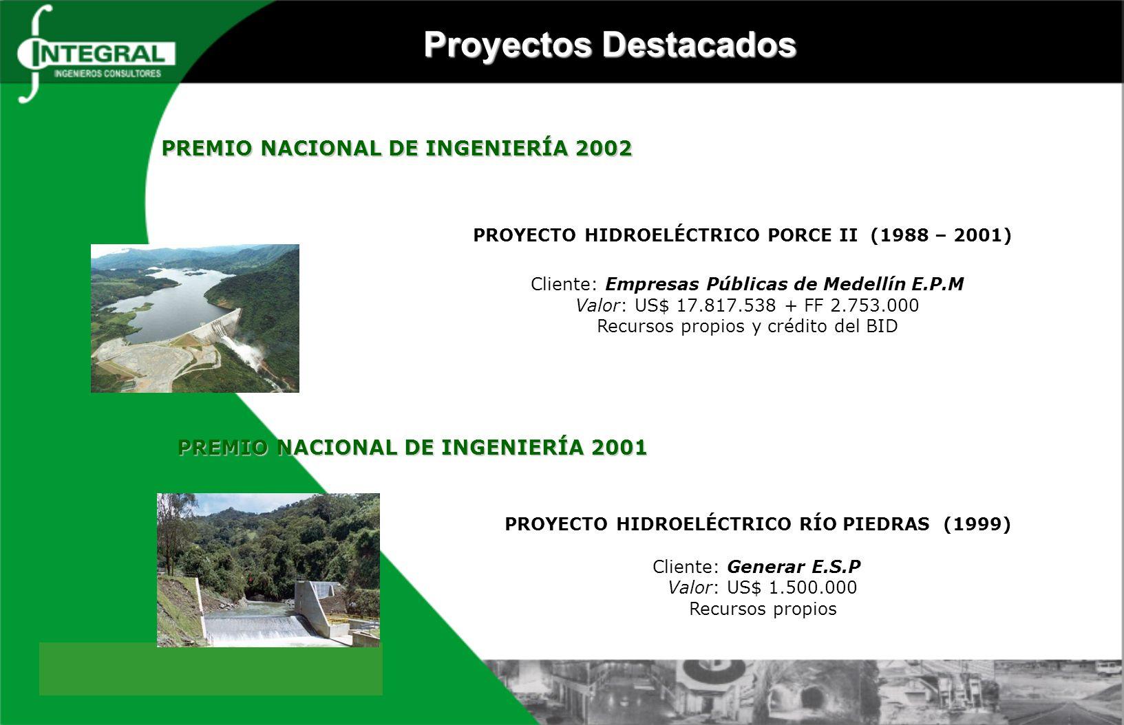 Proyectos Destacados PREMIO NACIONAL DE INGENIERÍA 2002