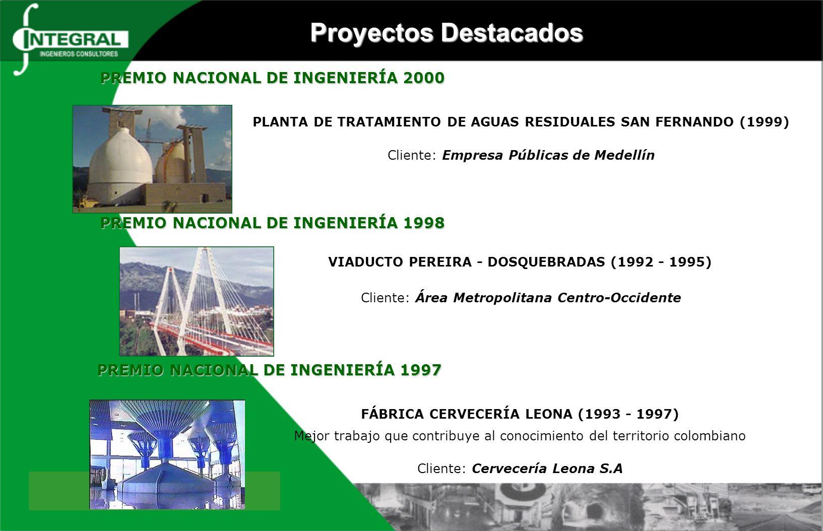 Proyectos Destacados PREMIO NACIONAL DE INGENIERÍA 2000