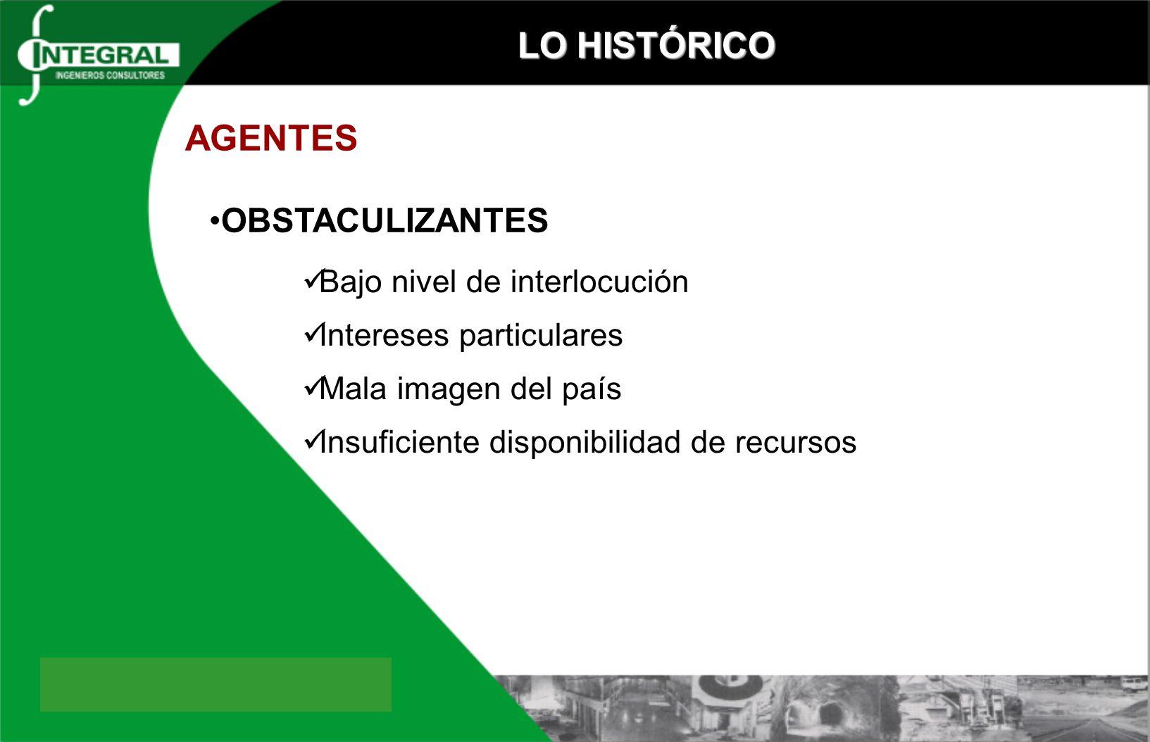 LO HISTÓRICO AGENTES OBSTACULIZANTES Bajo nivel de interlocución